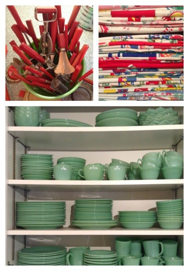 Just SOME of my jadeite, tablecloths and kitchen utensils.