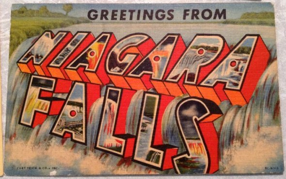 large letter linen postcard greetings from Niagra Falls