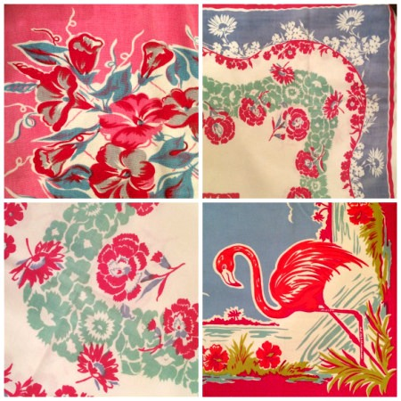 flamingo and flowers vintage tablecloth corners