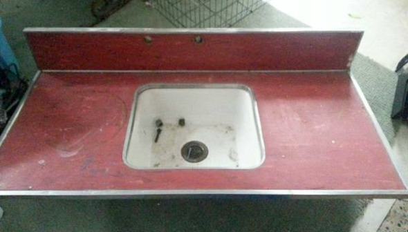 red formica counter and  sink