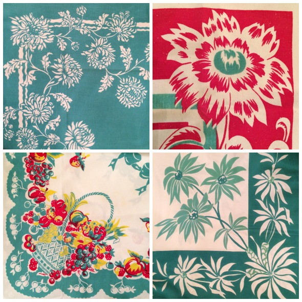 jadeite green and red floral vintage tablecloth designs