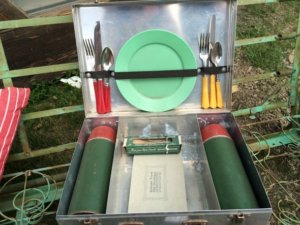 vintage picnic suitcase