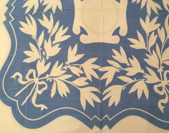 vintage tablecloth with reversed blue bouquets