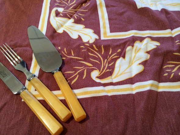 brown and gold vintage rayon tablecloth