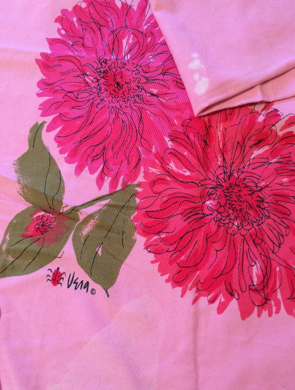 damaged pink vera neumann tablecloth
