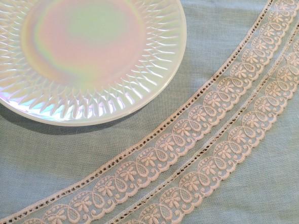 lace edged blue linen vintage tablecloth