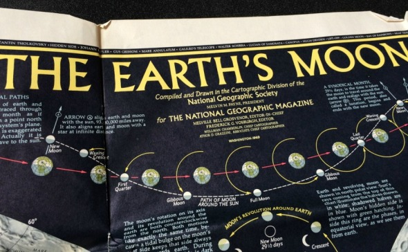 1969 National Geographic Map of The Earth's Moon