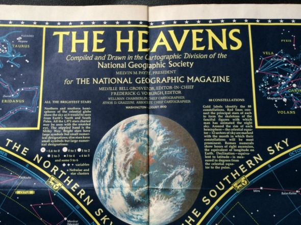1970 National Geographic map of the heavens