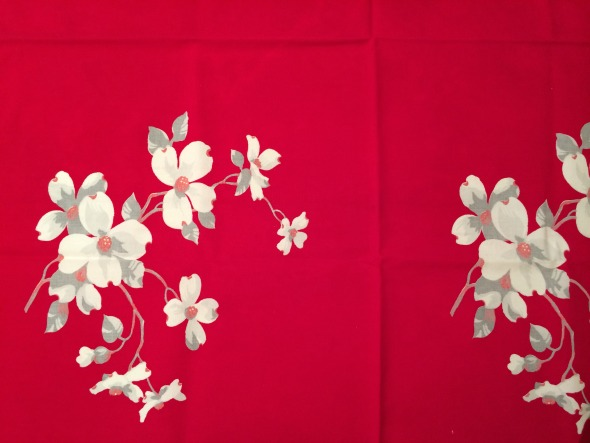 tiny Wilendur red dogwood tablecloth