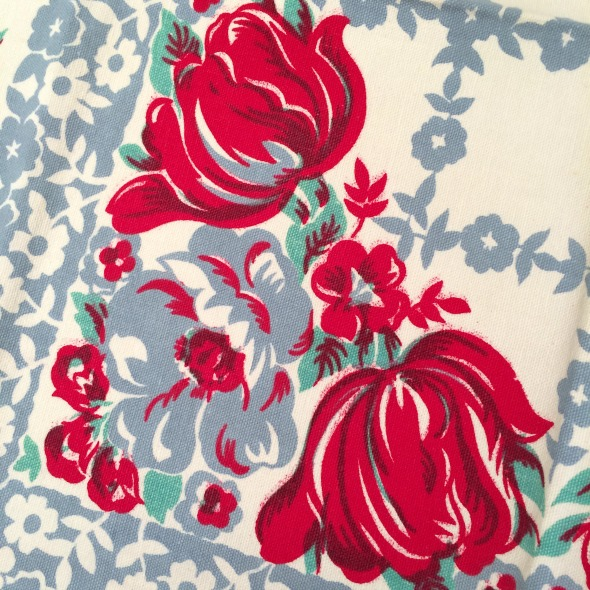 vintage tablecloth red tulips