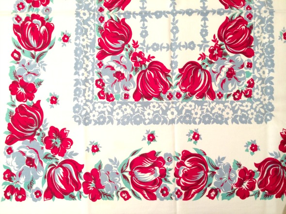 vintage tablecloth red tulips border