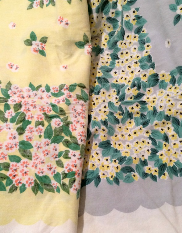 one vintage tablecloth design in two color ways