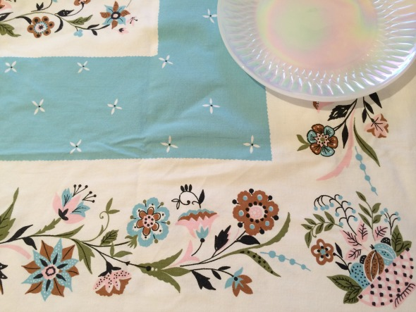 turquoise cocoa and pink vintage tablecloth border