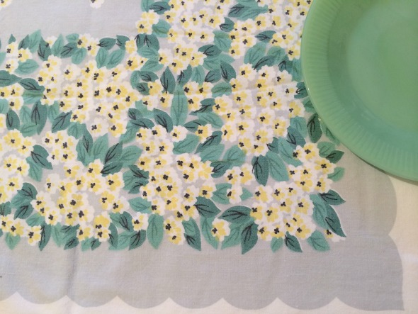 vintage tablecloth yellow and teal floral border