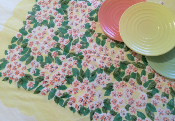 yellow and peach floral vintage tablecloth with moderntone platonite