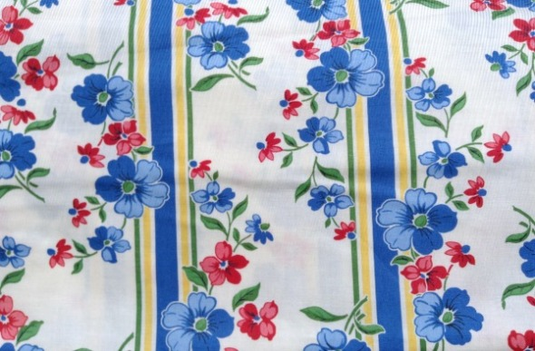blue floral stripe fabric