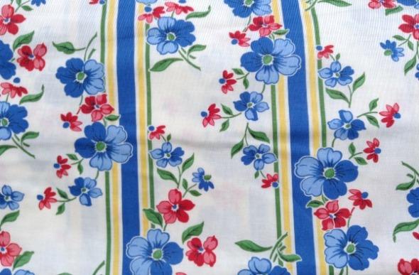blue floral stripe fabric