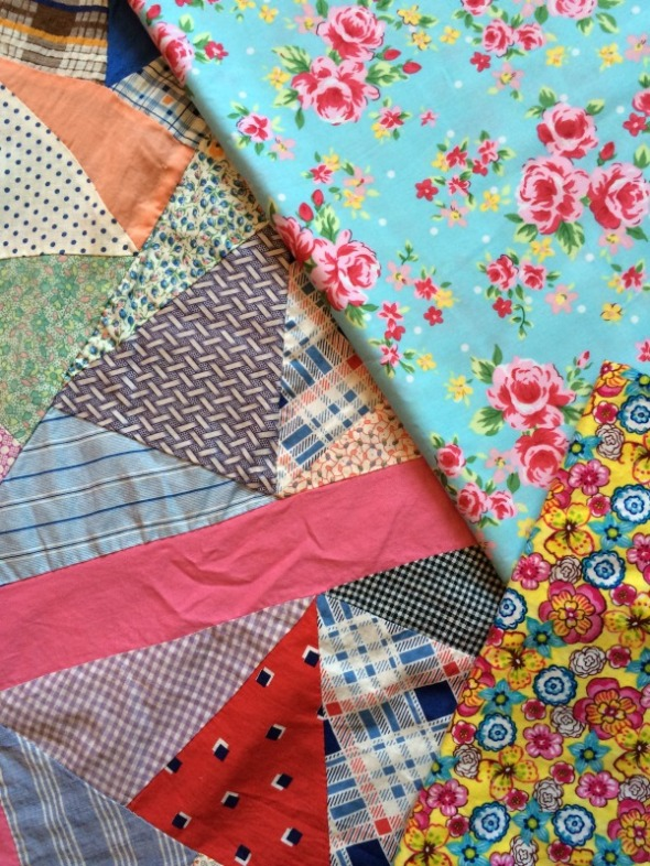 turquoise and roses fabric quilt backing