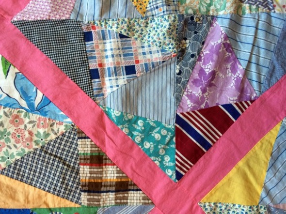 crazy vintage quilt block detail