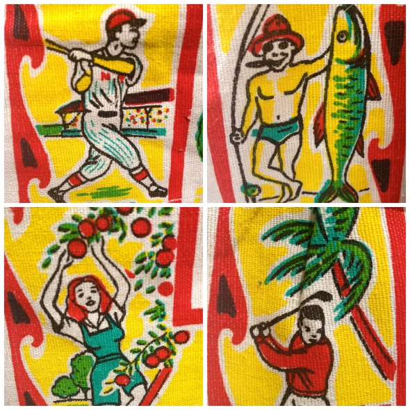 "What's fun in Florida? Watching spring training, catching a tarpon, picking oranges, and playing golf while a palm tree falls on you. I would like to point out that the pin-striped batter's uniform is marked ""NY,"" so . . . clearly a Yankee. Boo, Yankees!"