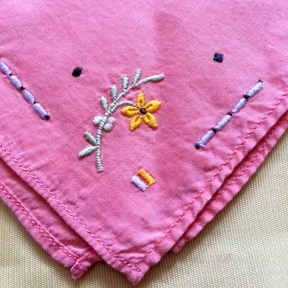 pink hanky with embroidery