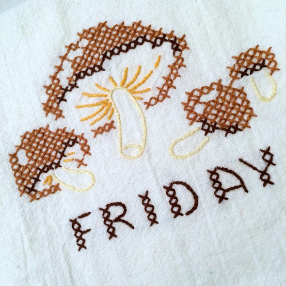 Friday embroidered mushrooms vintage towel