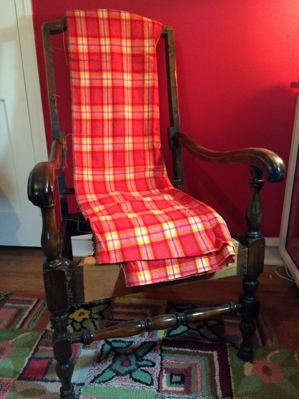 my great grandmother's chair with new plaid wool fabric
