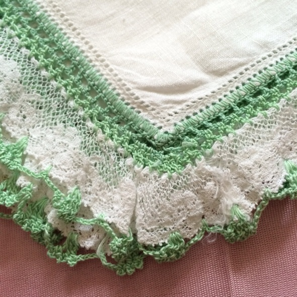 jadeite and white lacy edging