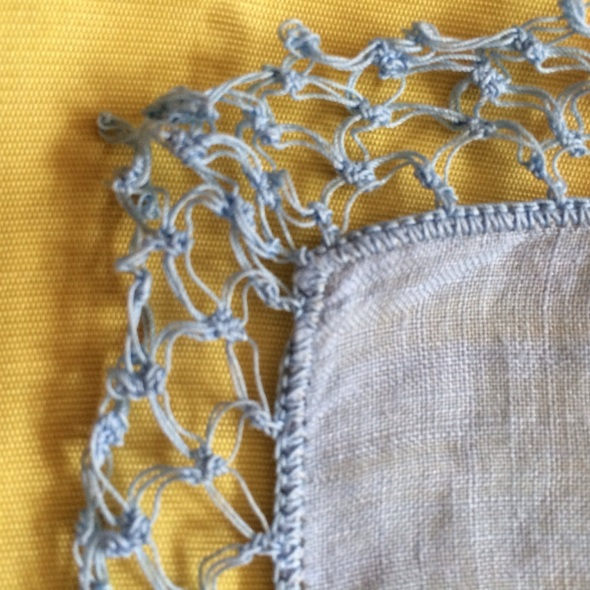 pale blue crochet handkerchief edging