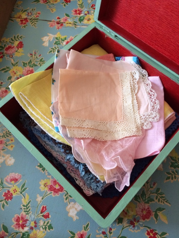 vintage box of vinage hankies