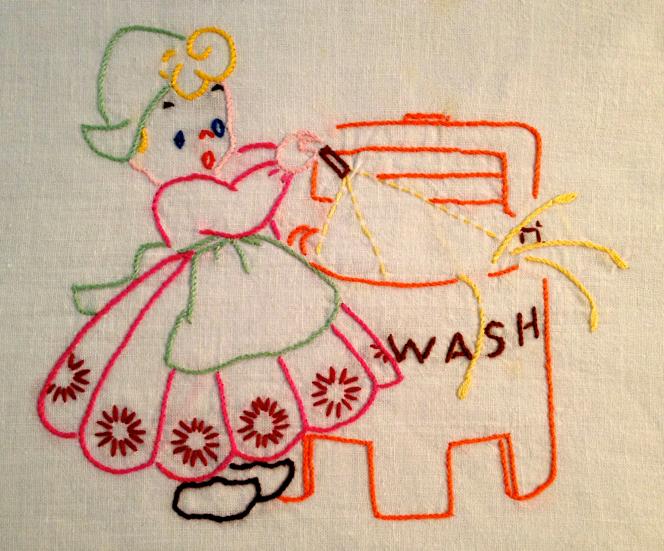 Simple hand embroidery designs for tablecloth - Splash Goes The Water One Of Our Grandmas Had A Wringer Washer Just