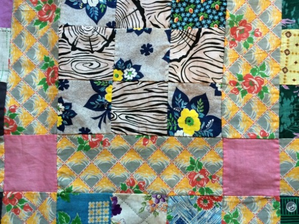 vintage nine patch quilt top detail