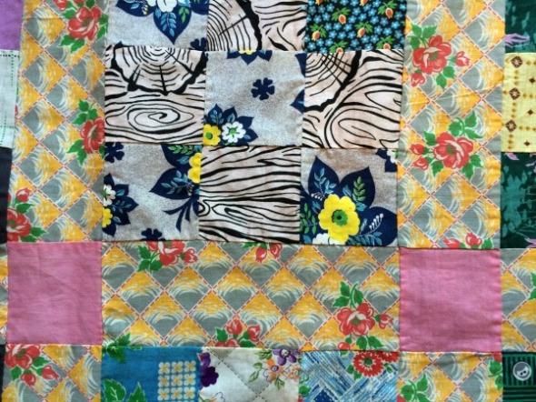 vintage nine patch quilt top detail