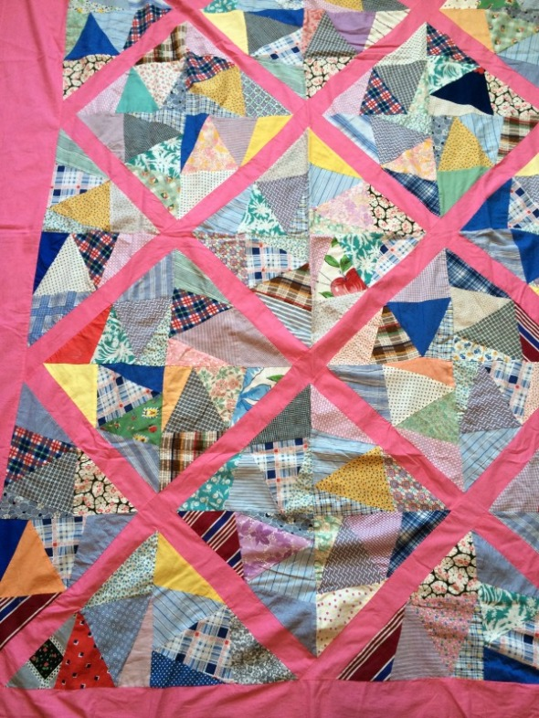 vintage quilt top crazy patches with pink sashing