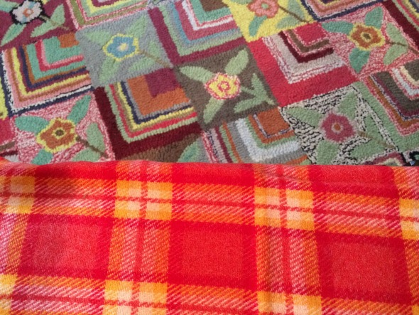 red and yellow plaid fabric and faux vintage carpet