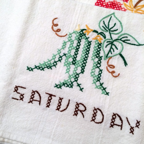 vintage Saturday dish towel embroidered with green beans