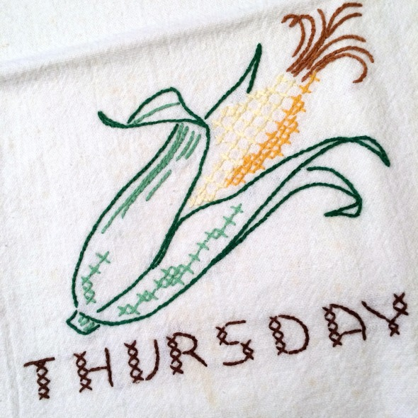 Thursday embroidered corn vintage towel