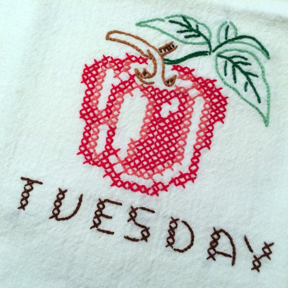 Tuesday red pepper embroidered dish towel