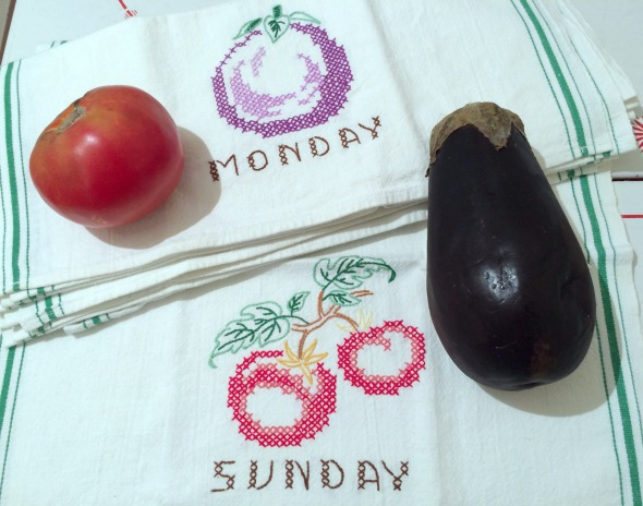Sunday tomato Monday eggplant embroidered towels