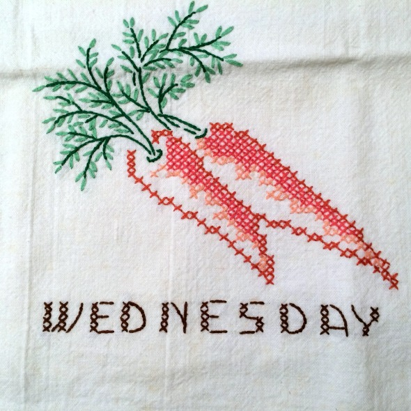Wednesday embroidered carrots vintage dish towel