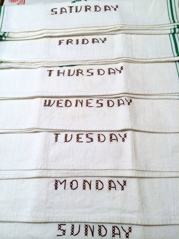week of embroidered vintage dish towels