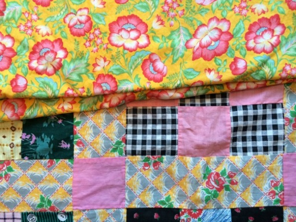 yellow and rose floral fabric vintge quilt backing