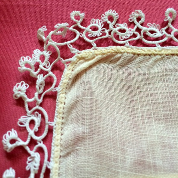 pale yellow hanky with white tatting