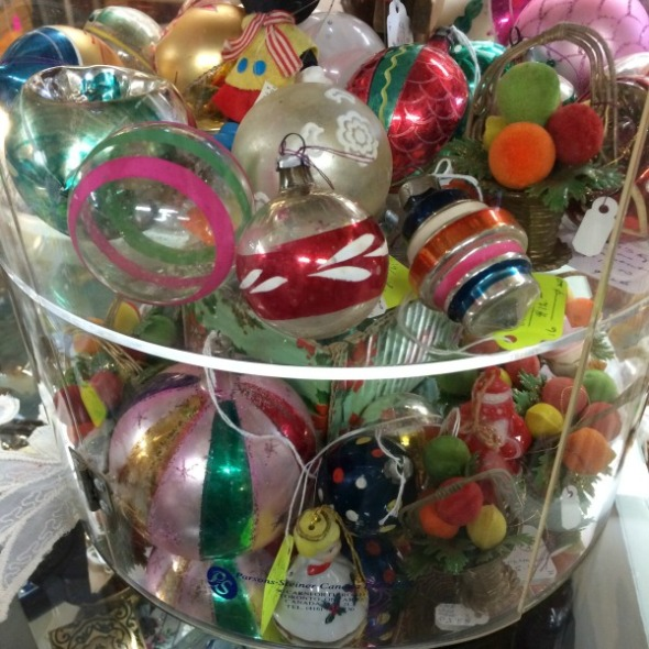 giant jar of vintage Christmas ornaments