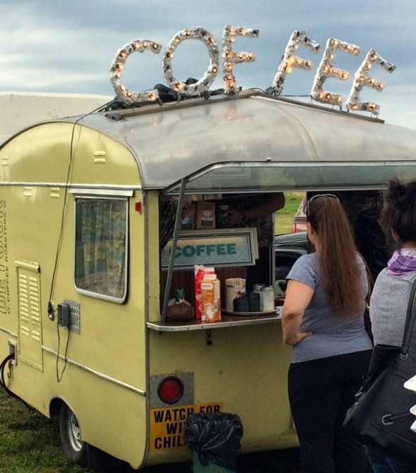 coffee served from a vintage trailer