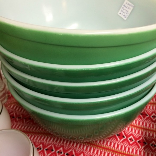 stack of green pyrex bowls