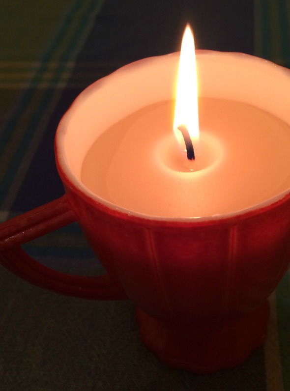 beeswax candle burning bright