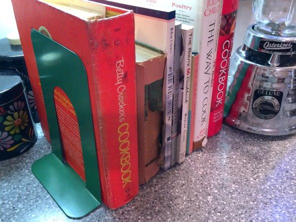 vintage bookends and cookbooks