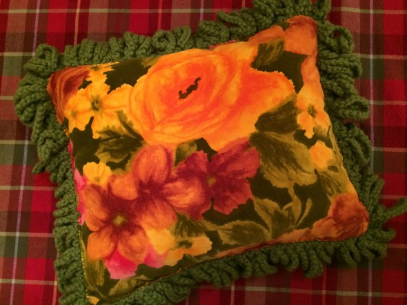 homemade velvet and crochet pillow