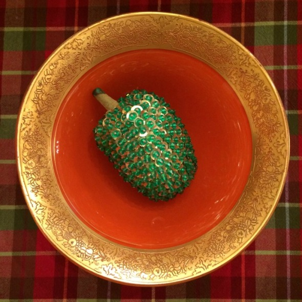 beaded green pepper in bowl